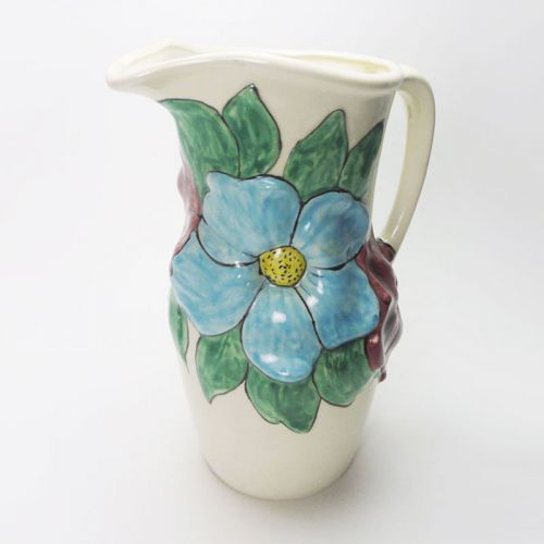 Handcrafted Vintage Ceramic Pitcher with Flower Design