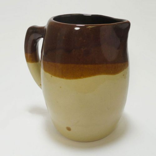 Stoneware Pitcher with Handle and Three Color Glaze