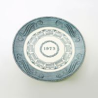 Monthly 1973 Calendar Vintage Decorative Ceramic Plate