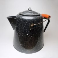 Vintage Enamel Graniteware Coffee Pot with Lid Bail Handle