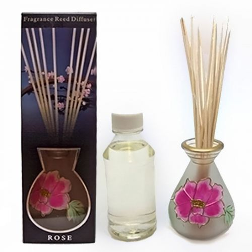 Rose Oil Reed Diffuser Set with Reeds and Smokey Vase