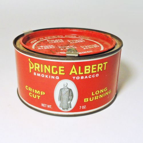 Prince Albert Crimp Cut Short Round Tobacco Tin Canister