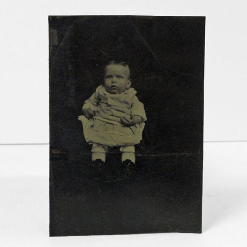 Antique Tintype Photo Hidden Mother and Baby
