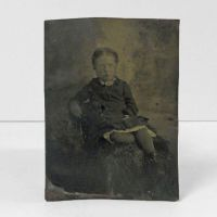 Antique Tintype Photo Sitting Girl Leaning on Chair