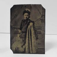 Antique Tintype Photo Girl Standing Sideways on Chair