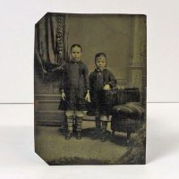 Antique Tintype Two Girls Standing Holding Hands