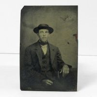 Antique Tintype Photo Man with Flat Hat Pinkie Ring
