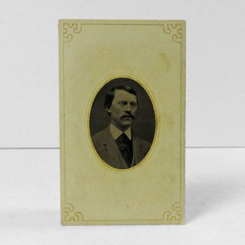 Antique Tintype Photo in Card Man with a Mustache