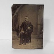 Antique Tintype Photo Man Sitting on a One Arm Chair