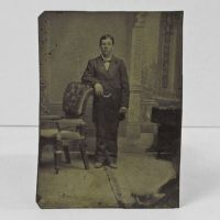 Antique Tintype Photo Man Standing Against a Chair