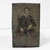 Antique Tintype Photo Sitting Man with Watch Chain
