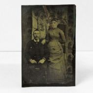 Antique Tintype Photo Man and Woman