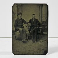 Antique Tintype Photo Two Sitting Men with Hats