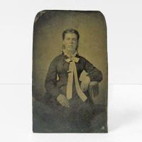 Antique Tintype Photo Woman with Tie and Slick Hair