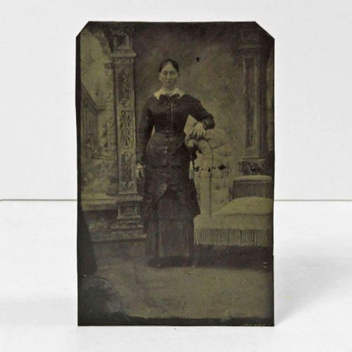 Antique Tintype Photo Woman Arm on a Highback Chair