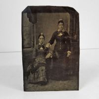Antique Tintype Photo Two Women Standing Sitting